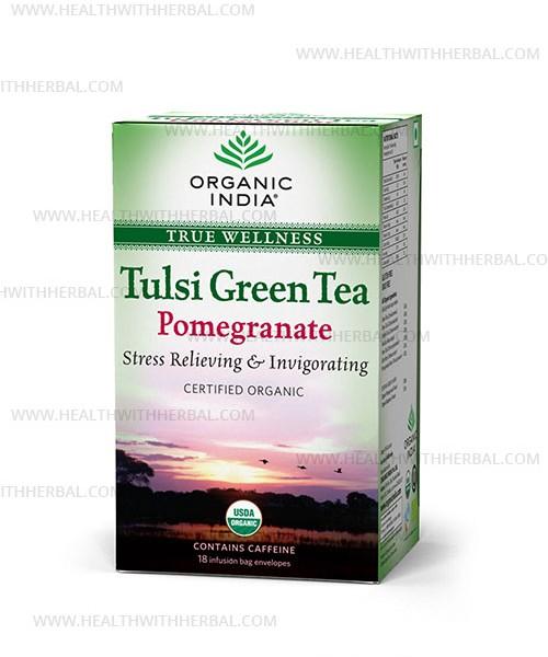 buy Organic India Tulsi Green Tea Pomegranate in UK & USA