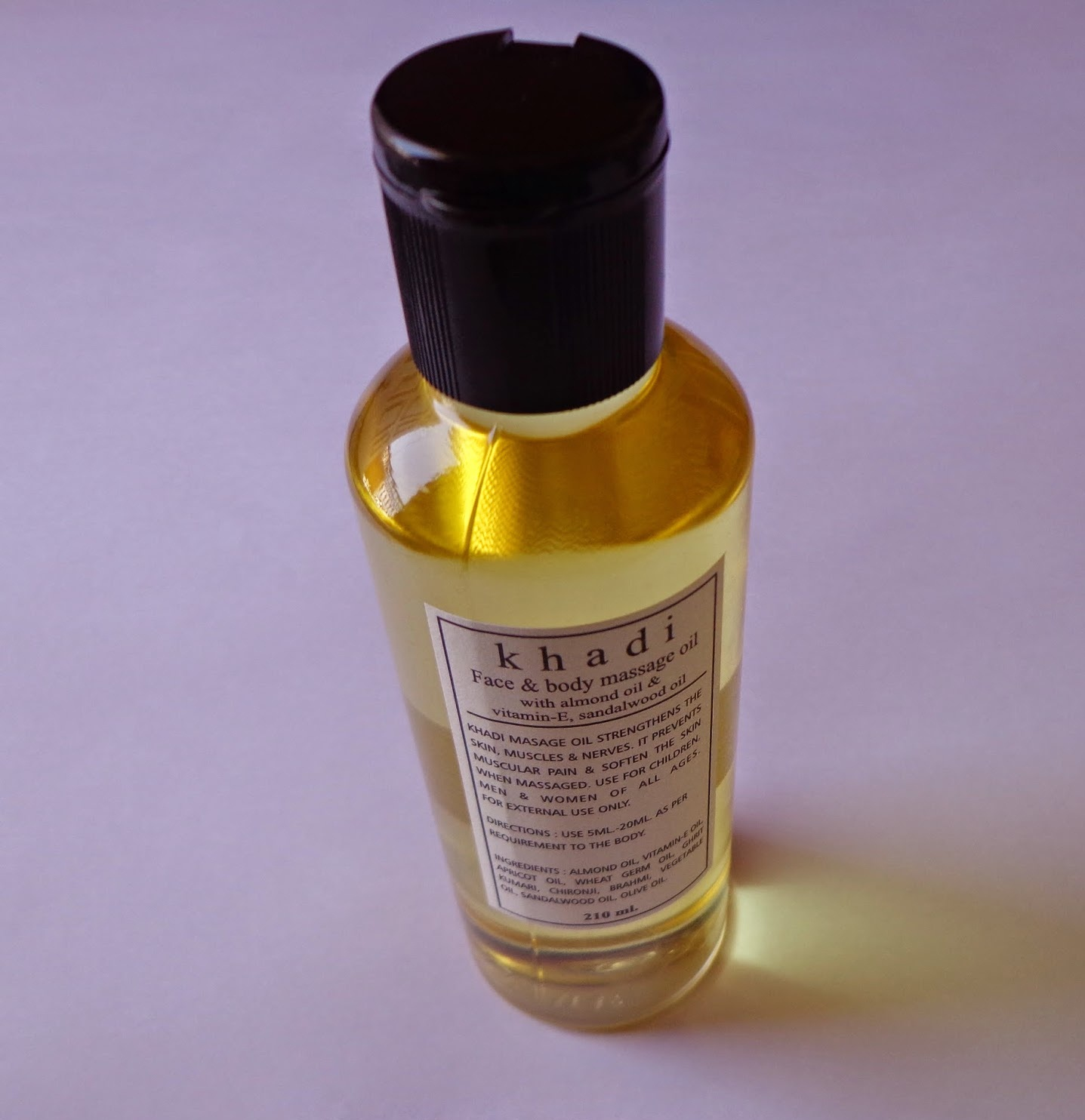 buy Khadi Face & Body Massage Oil with almond oil Vitamin-E, Sandalwood Oil 210ml in UK & USA