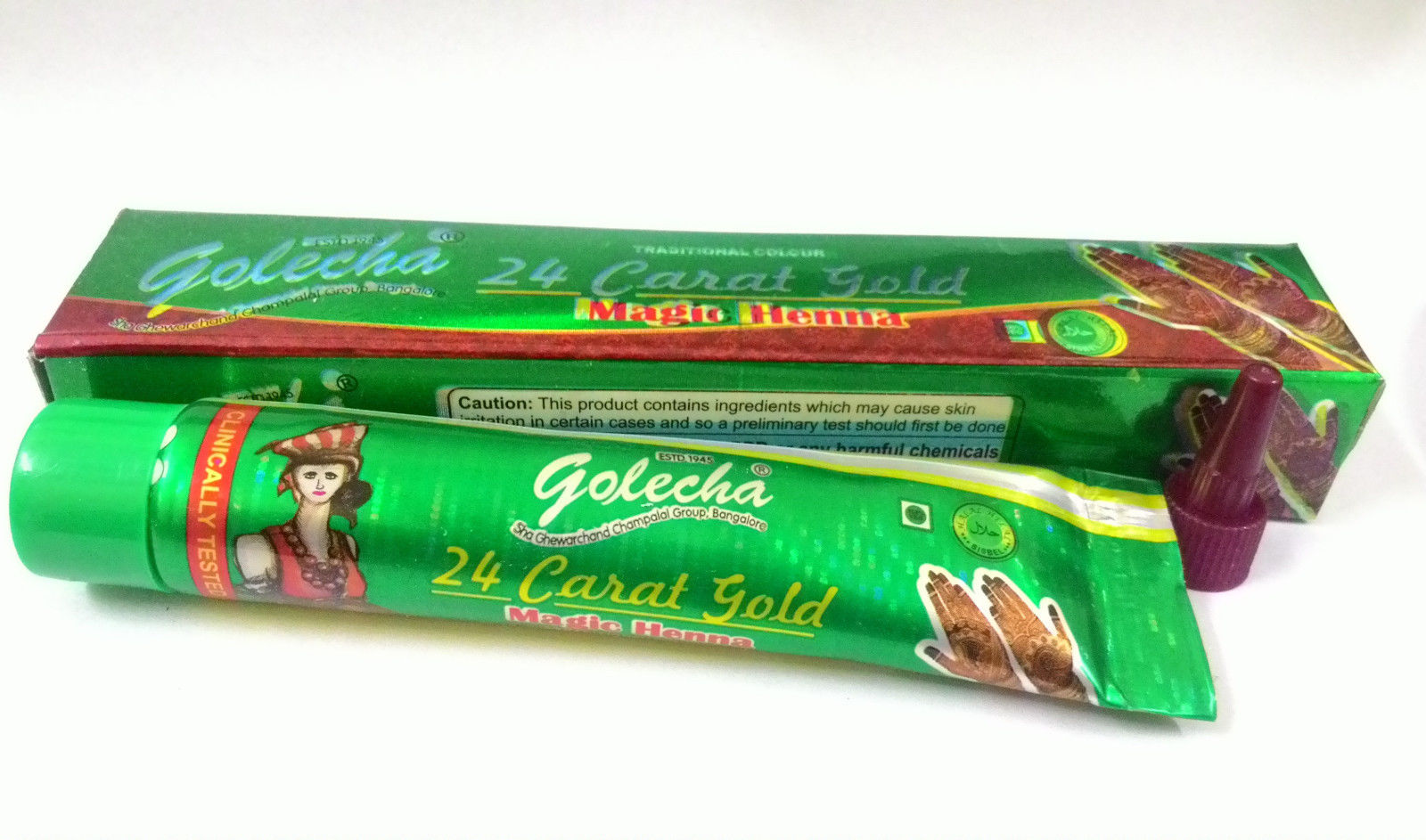 buy Golecha 24 Carat Gold Magic Henna Green Tubes (Pack of 12) in UK & USA