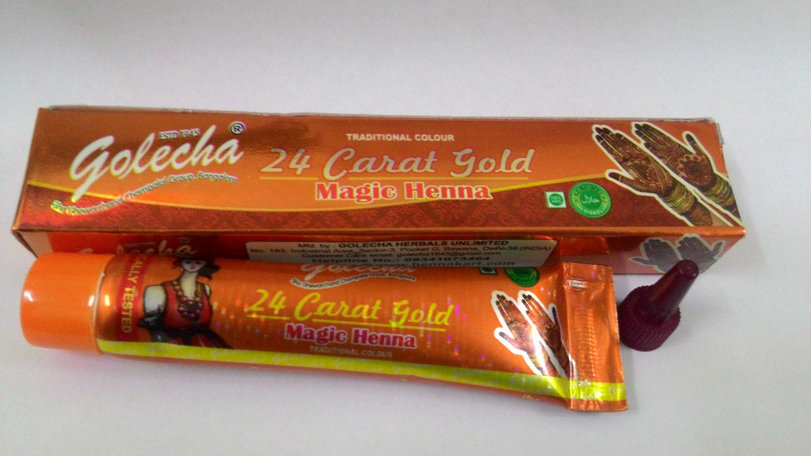 buy Golecha 24 Carat Gold Magic Henna Orange Tubes (Pack of 12) in UK & USA