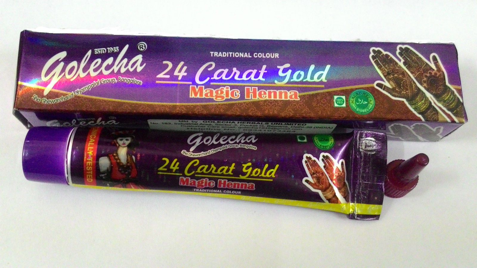 buy Golecha 24 Carat Gold Magic Henna Purple Tubes (Pack of 12) in UK & USA