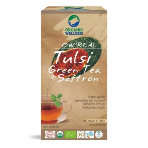 buy Organic Wellness Tulsi & Saffron Green Tea Bags in UK & USA